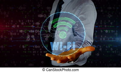 homme affaires, wi-fi, hologramme