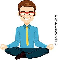 homme affaires, yoga, délassant