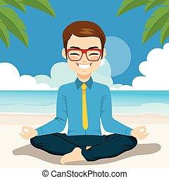 homme affaires, yoga, plage