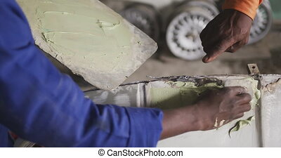 homme, africaine, voiture, peinture