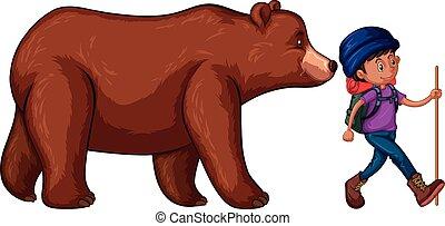 homme, aller, randonnée, à, grand ours, derrière, lui