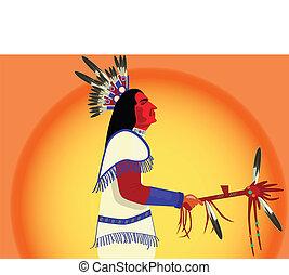 homme, américain indien, vecteur