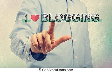 homme, amour, jeune, pointage, blogging