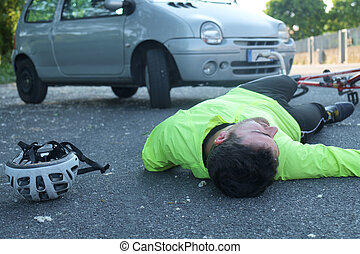 homme, après, vélo, evanoui, accident
