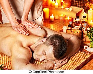 homme, arôme, spa., masage, obtenir
