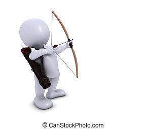 homme, archer, flèche, morph, arc, 3d