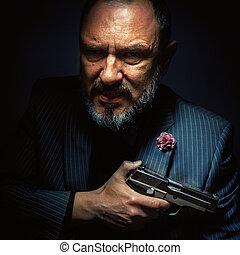 homme, argent, fusil