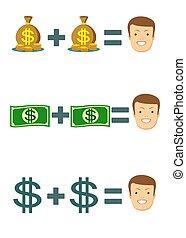 homme argent, riche, homme affaires