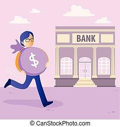 homme argent, sac, banque, tenue