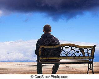 homme, assied, déclin, solitaire