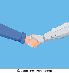 homme, association, robot., poignée main