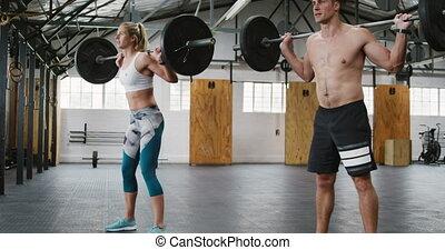 homme, athlétique, côté, femme, vue, caucasien, ...
