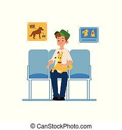 homme, attente, séance, chien, chouchou, réception, sien, vétérinaire, clinic.