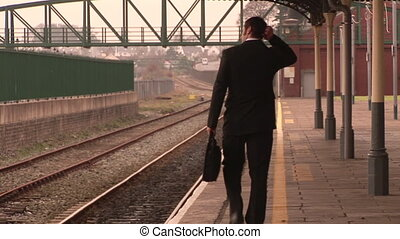 homme, attente, train