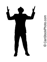 homme, augmentation, silhouette, bras