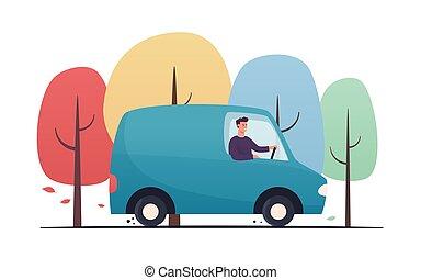 homme, automne, fourgon, vecteur, par, jeune, conduite, style, forêt, illustration, plat