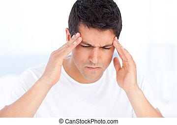 homme, avoir, fatigué, migraine