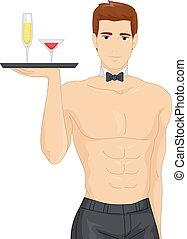 homme, bachelorette, servir, boissons