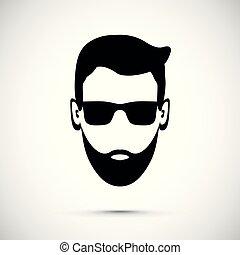 homme, barbe, icône