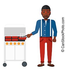 homme, barbecue., préparer