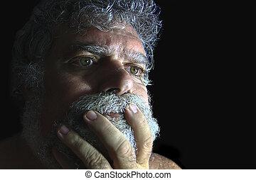 homme barbu, fâché, mûrir, figure
