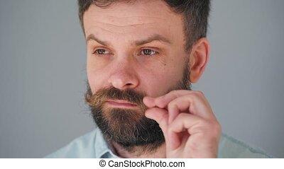 homme, barbu, portrait, torsions, moustache, sien