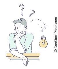 homme, bas, question, symbole, idée, avoir, lightbulb, résoudre, comment, non, aller