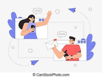homme, bavarder, communication, dialogue, réseaux, social, fichier, gens, concept, message, femme, jeune, conférence, sharing., apps., connexion, ligne, communication., deux, vidéo