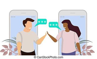 homme, bavarder, téléphone., concept, illustration, group., connexion, collaboration, chat., discussion., gens, communication, humain, business, ami, parole, dialogue, vecteur, réunion, réseau, social, parler, message, femme