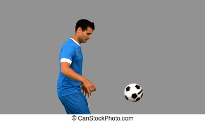 homme, beau, football jouant
