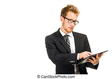 homme, beau, tablette, business, computer.