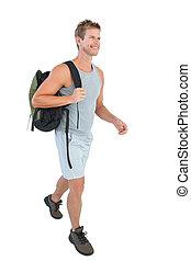 homme, beau, vêtements de sport, marche