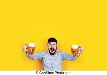 homme, bière, gai