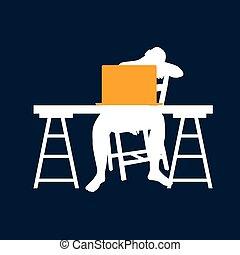 homme bleu, illustration ordinateur, bureau