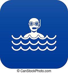 homme bleu, scaphandre, icône, numérique