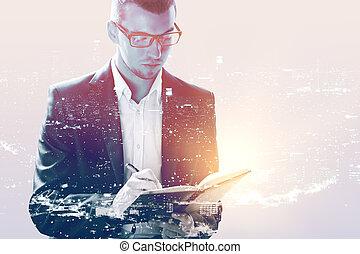 homme, bloc-notes, écriture