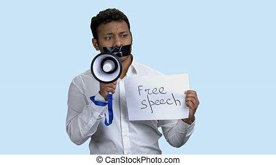 homme, boîte, speak., porte voix, pas, censuré