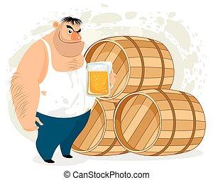 homme, boire, bière