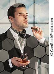 homme, boire, cognac, cigare fumer
