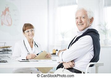 homme, bureau, docteur