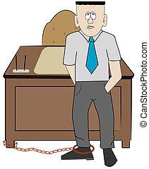 homme, bureau, sien, business, enchaîné