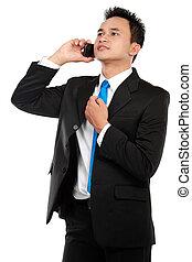 homme, business, appeler