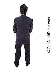 homme, business, arrière affichage