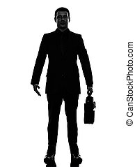 homme, business, debout, silhouette