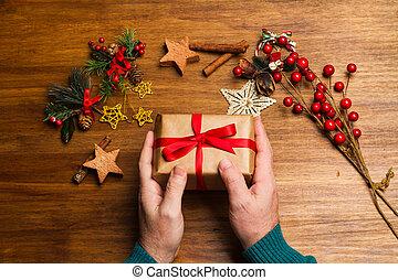 homme, cadeau, noël, tenue