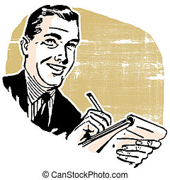 homme, cahier, business, écriture