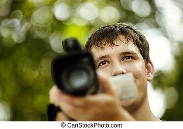 homme, caméscope, jeune