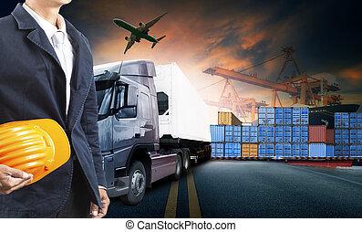 homme, camion, fonctionnement, récipient