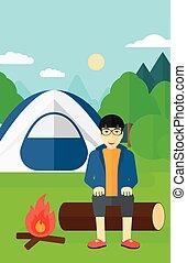 homme, camp., séance