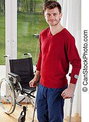 homme, capable, handicapé, debout